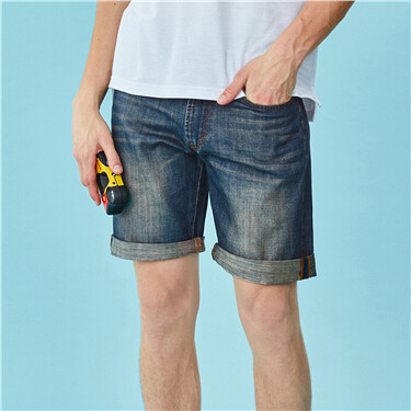 Roll-up cuffs thin demin shorts