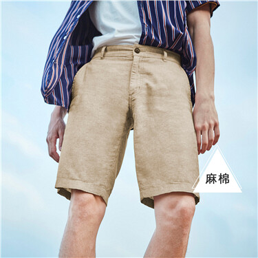 Linen-cotton shorts