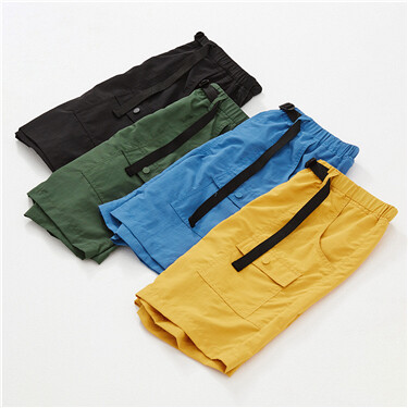 Lightweight elastic waistband cargo loose shorts