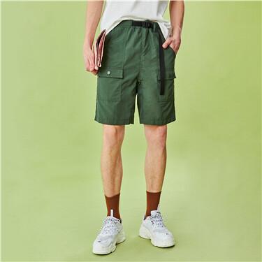 Lightweight elastic waistband cargo loose shorts