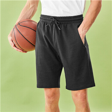 Zipped Slant Pockets Shorts