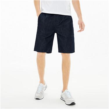 纯棉贴袋中腰轻薄牛仔短裤