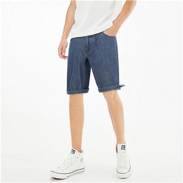 Drawstring cuffs lightweight denim shorts