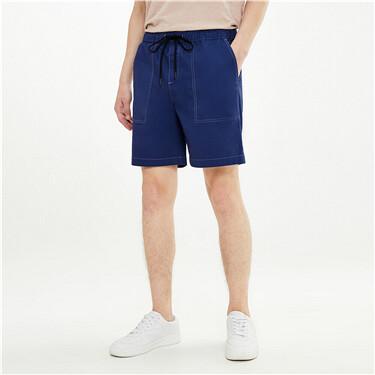 工装撞色线弹力棉薄款休闲短裤