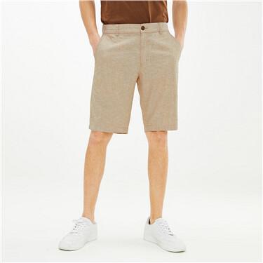 天然麻棉半松紧腰休闲短裤
