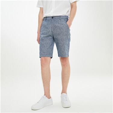 天然麻棉条纹中低腰休闲短裤