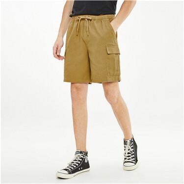 纯棉工装粗斜纹松紧腰休闲短裤