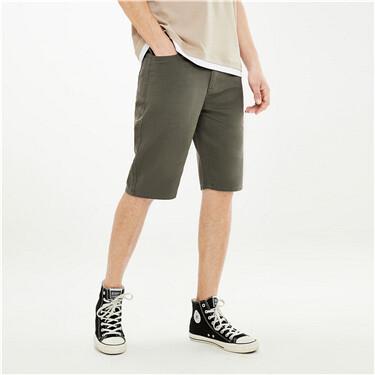 纯棉纯色斜纹中低腰休闲短裤