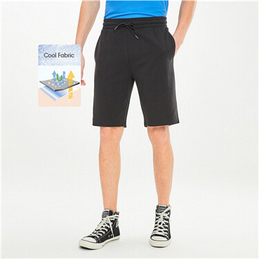 Plain drawstring knitted shorts
