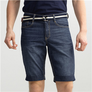 Lightweight denim slim bermuda (with belt)