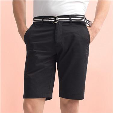男裝簡約素色純棉休閒短褲(附腰帶)