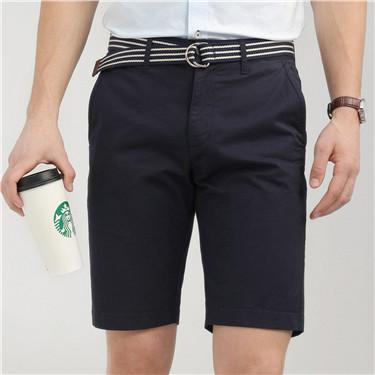 弹力棉纯色配腰带修身休闲短裤