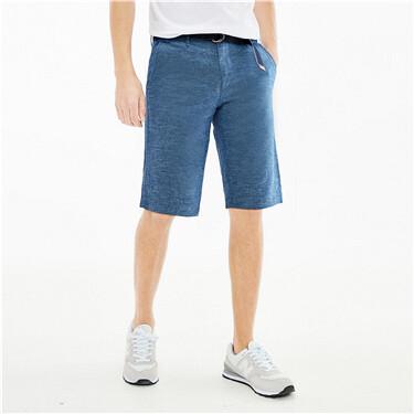 天然麻棉配腰带休闲短裤