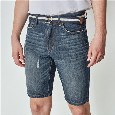 Distressed denim shorts(with belt)