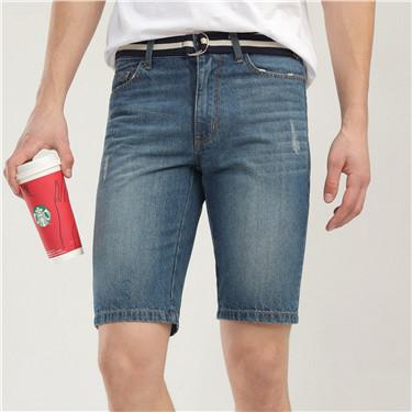 磨破猫须配腰带牛仔短裤