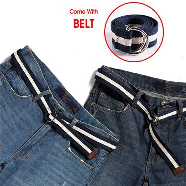 Distressed denim shorts(with belt)