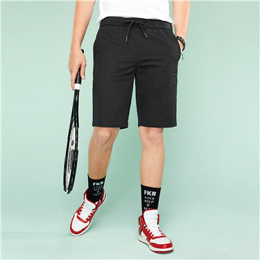 Elastic waist twill casual shorts