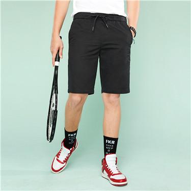 Elastic waist cotton casual shorts