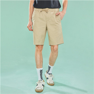 Elastic waist cotton casual shorts