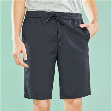 Elastic waist cotton bermuda shorts