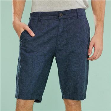 Linen-cotton mid-low rise casual shorts
