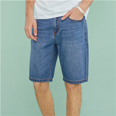Cotton whiskered thin denim shorts