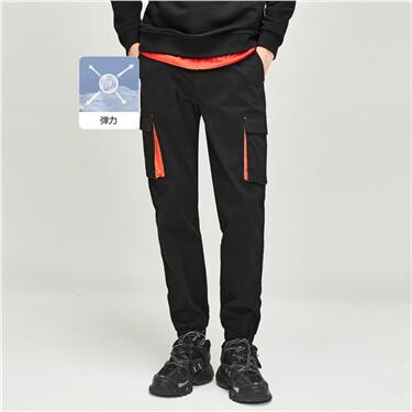Contrast cargo elastic waistba