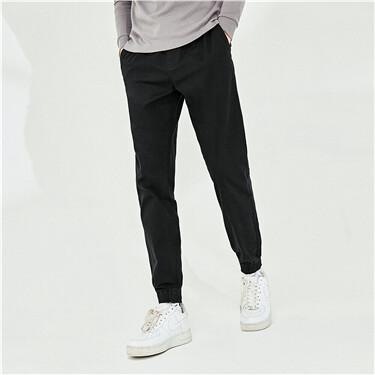 Stretchy plain elastic waistband joggers