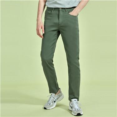 纯棉斜纹中腰直筒休闲裤