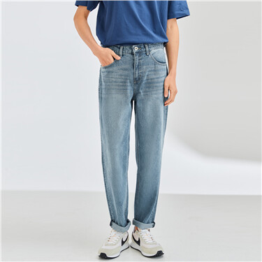 Mid rise straight denim jeans