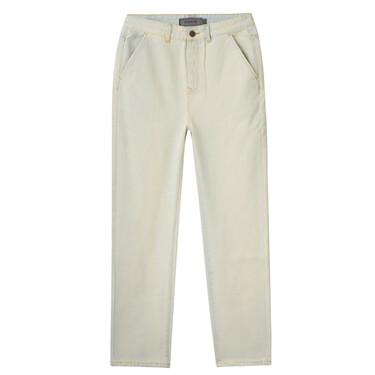 纯棉中高腰宽松直筒浅色牛仔长裤
