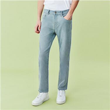 Stretchy Mid Rise Straight Jeans