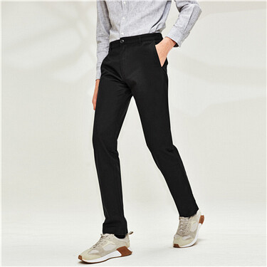 Solid slim pants