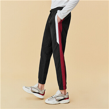 Contrast color nylon joggers