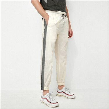 Elastic waistband reflective contrast joggers