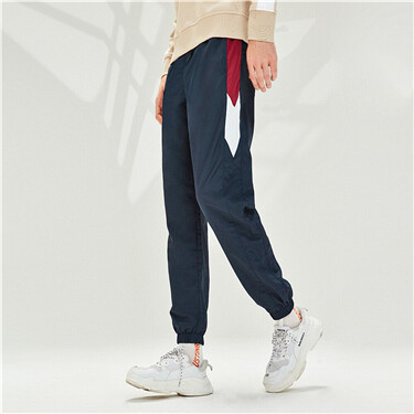 Contrast color elastic waistband joggers