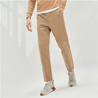 Thick cotton mid rise casual pants