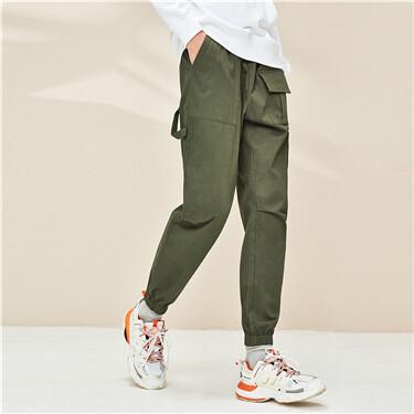 Stretchy multi-pocket elastic waistband pants