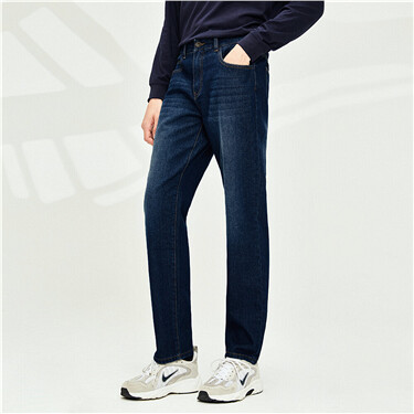 Cotton 5-pocket mid-low-rise jeans
