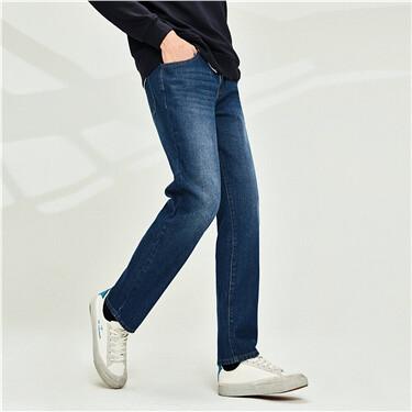 Cotton 5-pocket mid-low-rise jeans