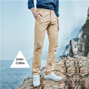 Linen-cotton solid pants