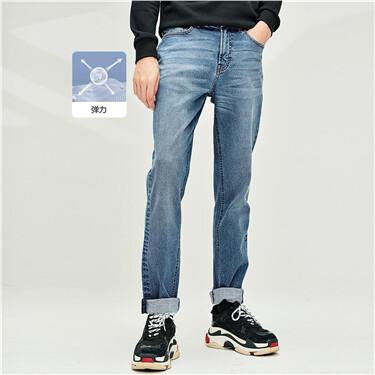 内抓毛五袋款中腰牛仔长裤