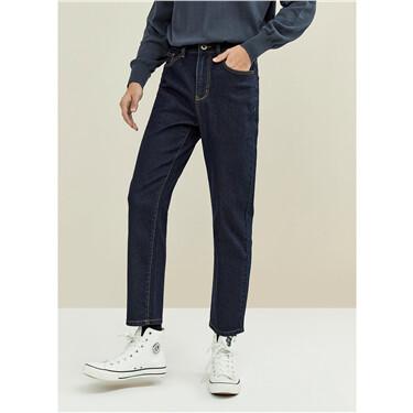 Loose straight mid-rise denim jeans