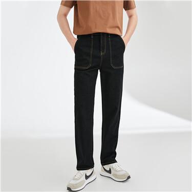 大贴袋宽松直筒弹力棉牛仔长裤
