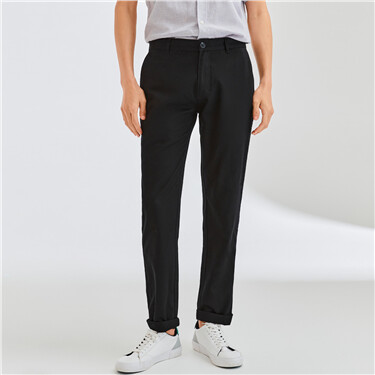 Solid color mid-low rise pants