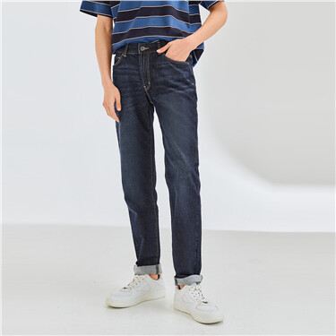 Moustache effect straight jeans