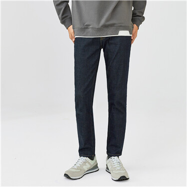 Sanded lining slim five-pocket jeans