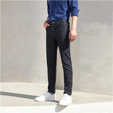 Sanded lining slim five-pocket jeans