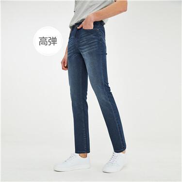 高弹力棉五袋款修身牛仔长裤