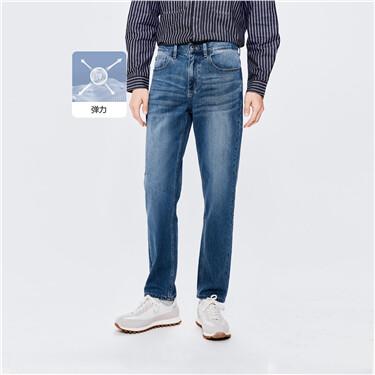 弹力棉中腰宽松直筒牛仔长裤